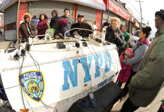 charging cell phones using NYPD generator