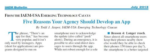 July 2013 IAEM Bulletin graphic